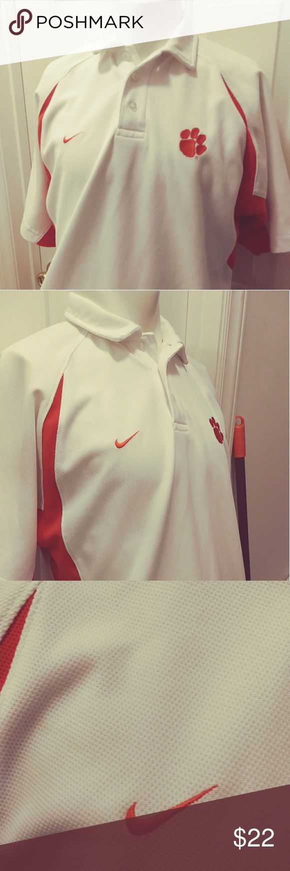 Clemson Nike polo shirt SZ small $22 + free gift Clemson Nike polo shirt SZ small $22 + free gift any item in this closet priced $15 or less. Bundle the two items send me an offer for the price of the Clemson polo shirt and I will accept it. Nike Clemson Polo Shirts Polos