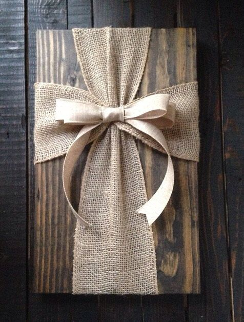 Burlap ribbon on wood sign with wire hanger, 18 tall Can be customized with stain or left unfinished, ribbon color of your choice. Please note