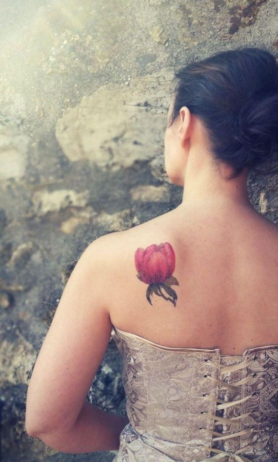 Peonia rosa tatuaggio temporaneo medio / tatuaggio di Leccio51