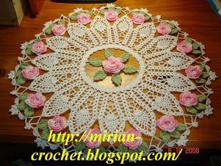 ஜMirian-receitas de crochêஜ: Toalhinha de flores