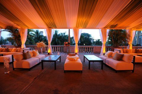 Draping and lighting can transform the ambiance of any event. Decor by Avant Gardens Miami