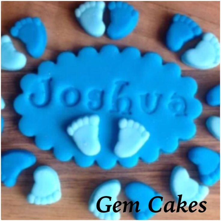 Edible baby Shower christening Blue plaques and baby feet  cupcake toppers decorations for Boys