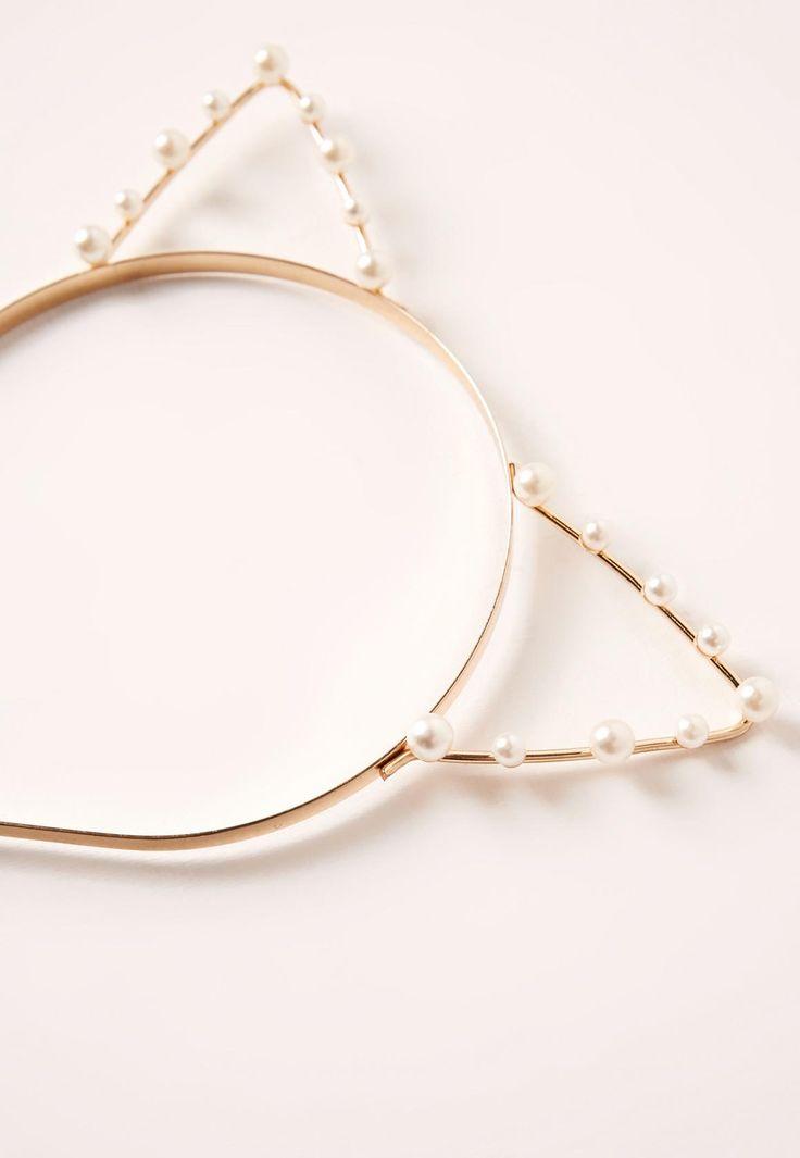 Missguided - Pearl Cat Ear Headband Gold