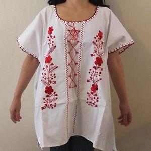 Plus Size Peasant Blouse Pattern | 4XL PLUS SIZE PEASANT BOHO PUEBLA HAND EMBROIDERED MEXICAN BLOUSE 100% ...