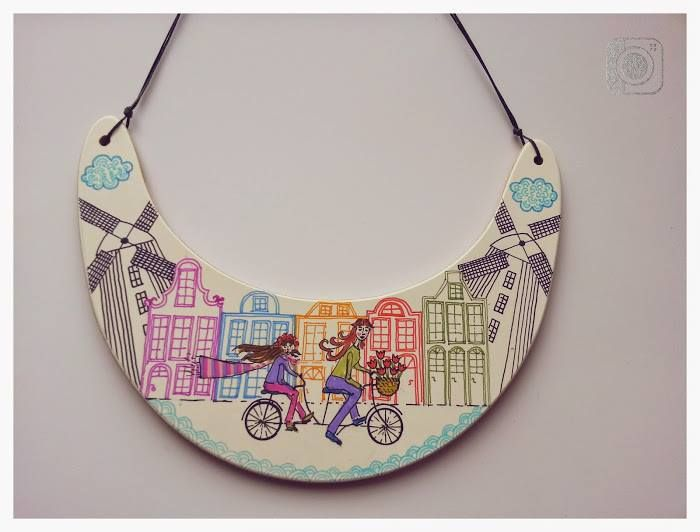 Aleksandra Ivanova jewelry, Personalized Cityscape Necklace, Personalized Jewelry, City Skyline, Statement Necklace, Architectural Jewelry necklace On wood panel with gesso painted with colored pencil.  #sofijafiligranska #illustration #city #necklace #colar #bibnecklace #jewellery #jewelry #contemporaryjewelry #joya #bijuteriecontemporana #bijoux #joyeriacontemporanea
