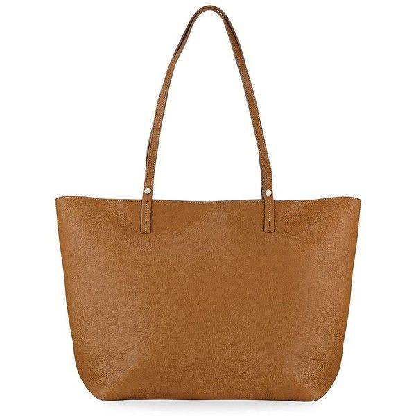 GiGi New York Tori Leather Tote (1,135 PEN) ❤ liked on Polyvore featuring bags, handbags, tote bags, leather man bags, brown leather tote, purse tote, brown leather handbags and leather hand bags