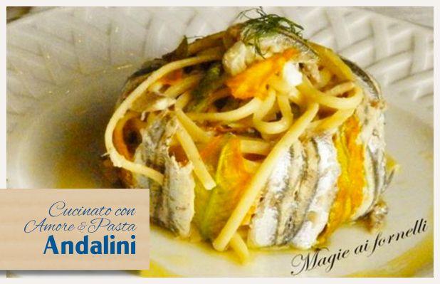 Linguine Andalini ai fiori di zucca, alici e mozzarella di Paola Langella del blog Magie ai fornelli.  Ecco una ricetta creativa da provare con #Andalinilatuapasta! www.andalini.com