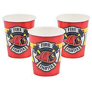FIREFIGHTER PARTY  Fireman Fire Fighter Disposable Cups Paper Cup - pack of 8