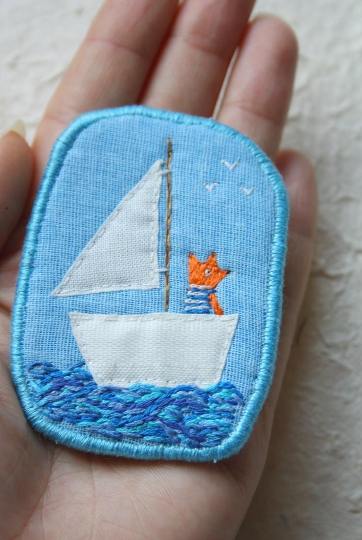 """Brooch -  """"Sea Fox"""". $19.00, via Etsy."""