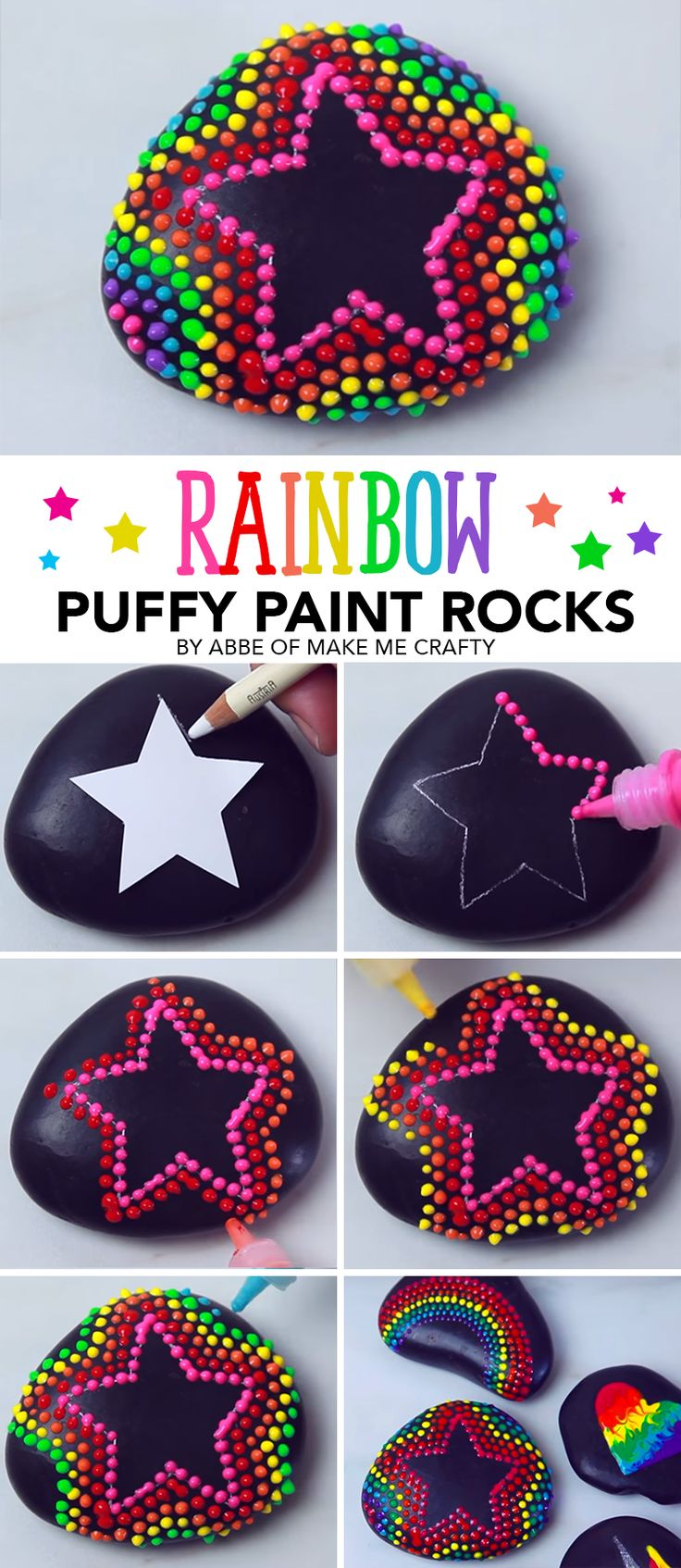 Make these cute puffy paint rocks using Tulip Dimensional Paint! Get this DIY from Abbe of Make me Crafty and make your own painted rocks!