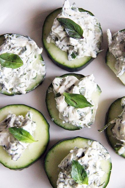 herbed cream cheese cucumbers...***I might try this using a soft vegan cheese***