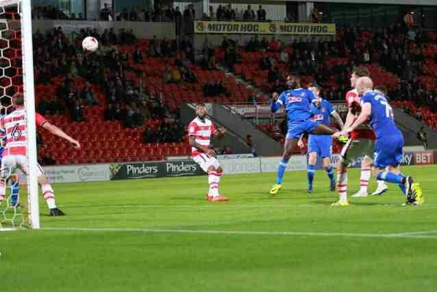 Doncaster Rov 2 Carlisle Utd 2 in Sept 2016 at Keepmoat Stadium. Jabo Ibehre heads a late equaliser. Doncaster went 3rd in League 2.