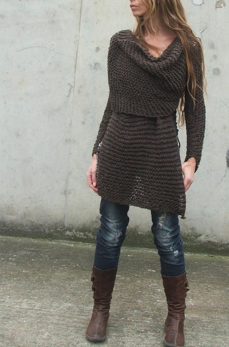 Dark Brown Wraparound jacket / cardigan sweater. $160.00, via Etsy.