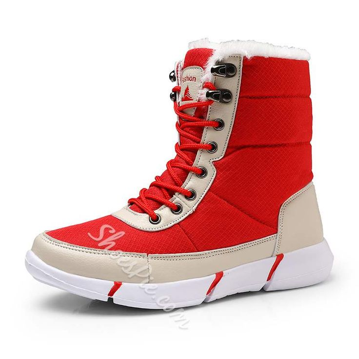 Shoespie Stylish Lace Up Round Toe Short Snow Boots #AD