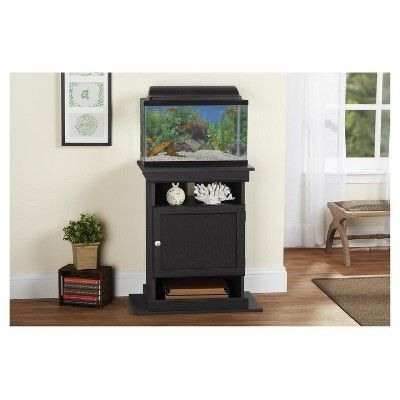 Flipper 10, 20 Gallon Aquarium Stand - Midnight Onyx - Ameriwood Home, Black