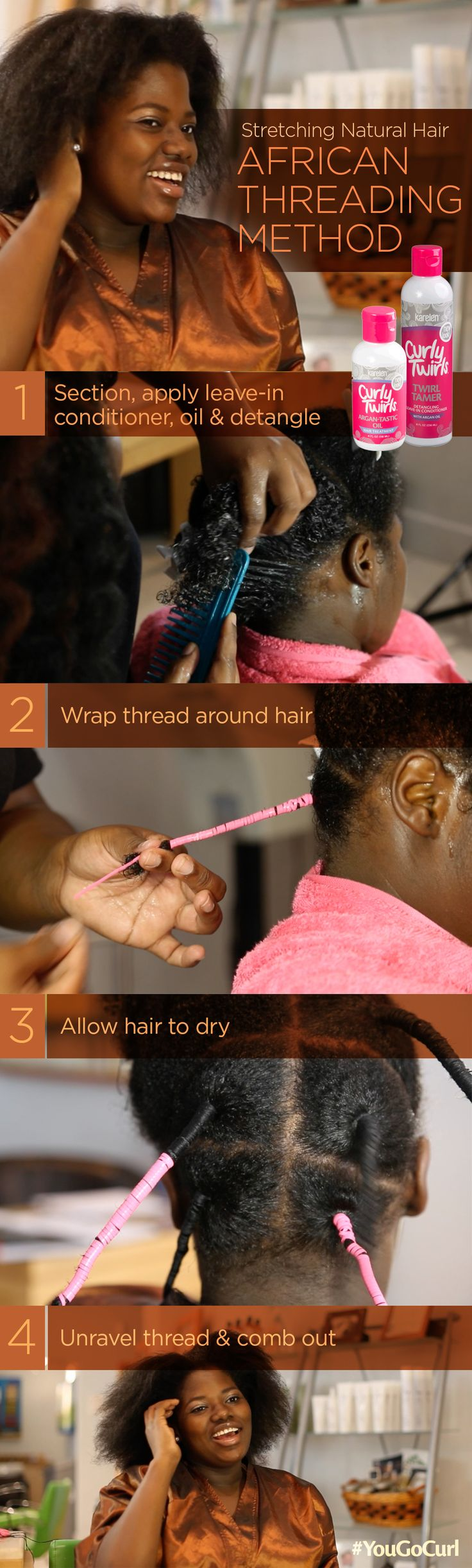 Stretching Natural Hair | African Threading Method