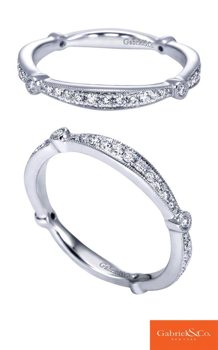 Miadora signature collection 14k white gold 1ct tdw diamond double row - A 14k White Gold Diamond Straight Wedding Band From Gabriel