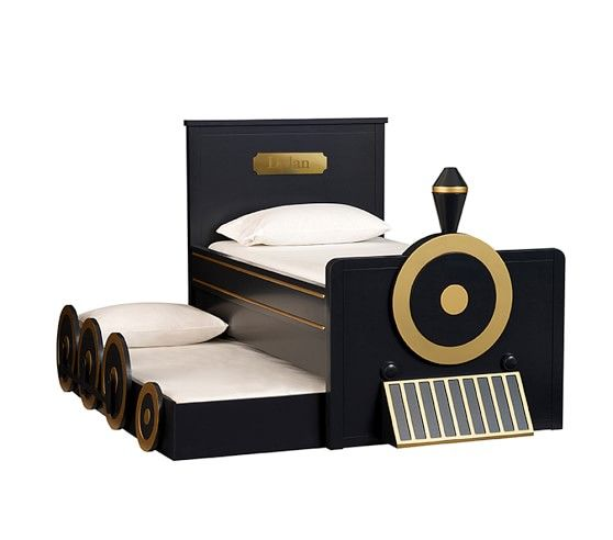 Personalized Train Bed & Trundle, Midnight Gray | Pottery Barn Kids