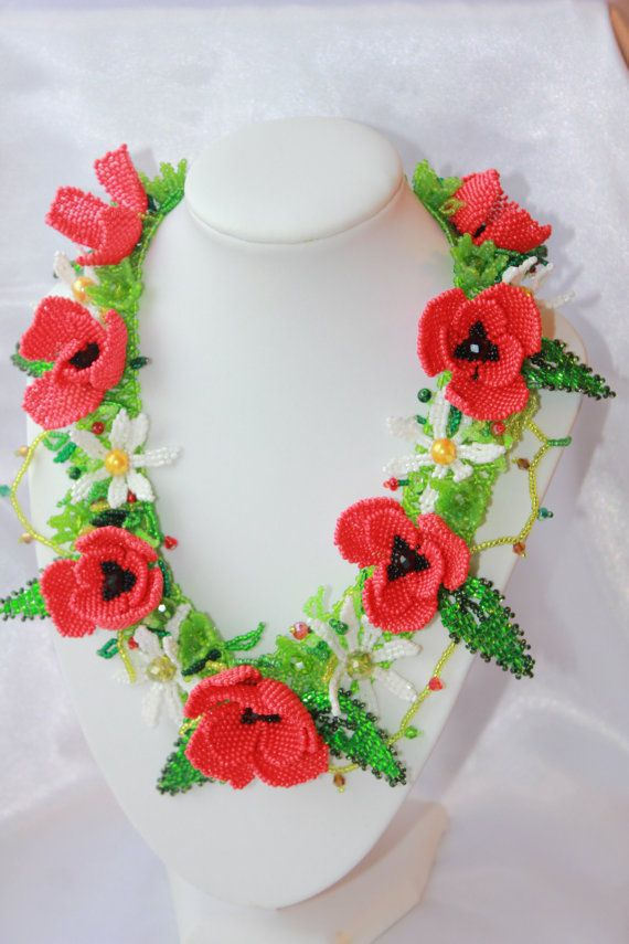 11 best beaded red poppies images on pinterest bead necklaces red 25 sale flower bouquet necklace chamomile by beadcreativitybyolia poppy flowersred mightylinksfo Gallery
