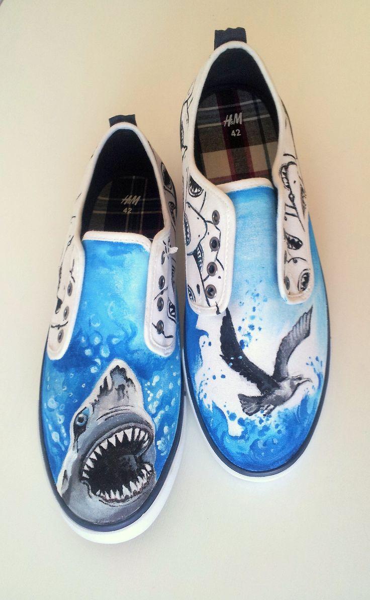 #Handpainted #shoes #textile #waterproofpaint