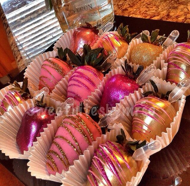 Gold and pink bling glitter chocolate covered strawberries