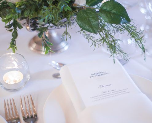 Laying the elegant table at La Seigneurie St-Cuthbert, Wedding venue