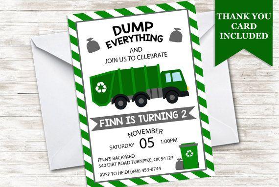 Garbage Truck Invitation Invite Trash Dump by CreatingJoyDesigns
