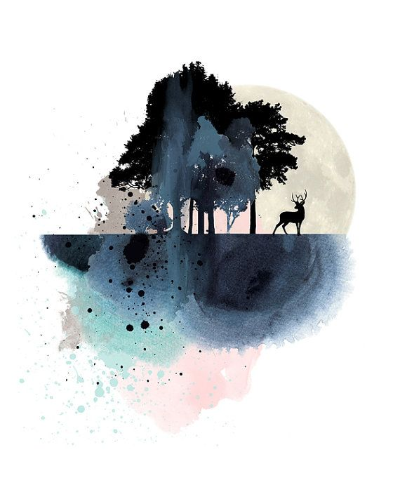 Natur-Wand-Kunst Berg Kunst print Aquarell von WhiteDoePrints