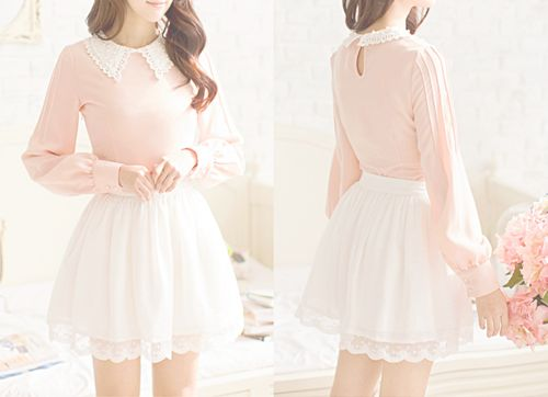 pretty cute fashion dress kawaii skirt asian flowers pink Clothes ...