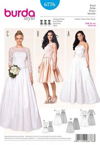 Burda Ladies Sewing Pattern 6776 Wedding Dresses & Underskirt   Sewing   Patterns   Minerva Crafts