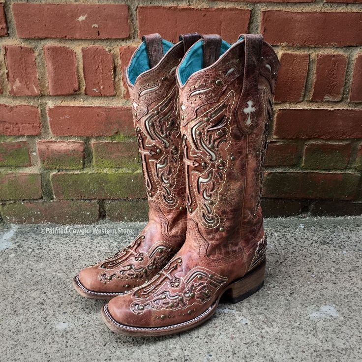 Corral Ladies Cognac/Bone Inlay Cross & Studs Square Toe Boot - C2856 – Painted Cowgirl Western Store