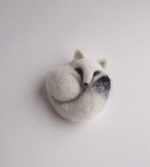 Kleine Polarfuchs, tierische Schmuck, Fox Brosche