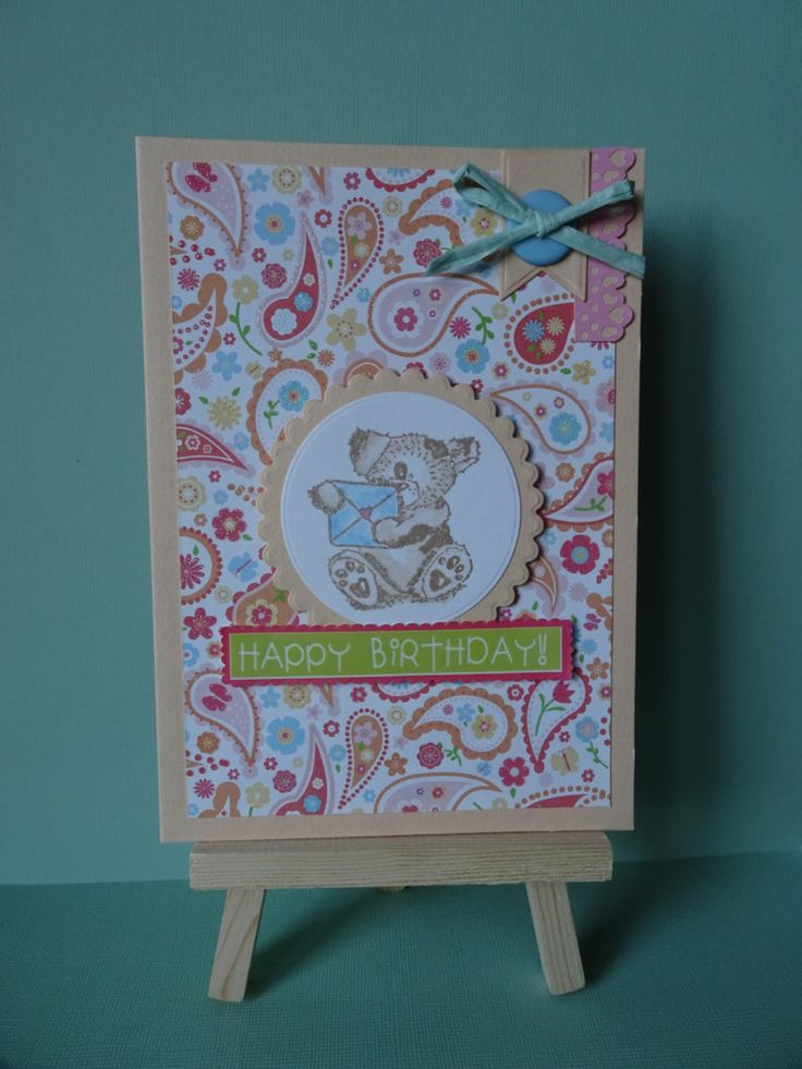 Peach Birthday Bear with envelope paisley card