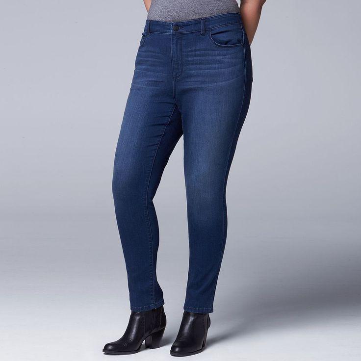 Plus Size Simply Vera Vera Wang Super Skinny Jeans, Women's, Size: 18W Short, Dark Blue