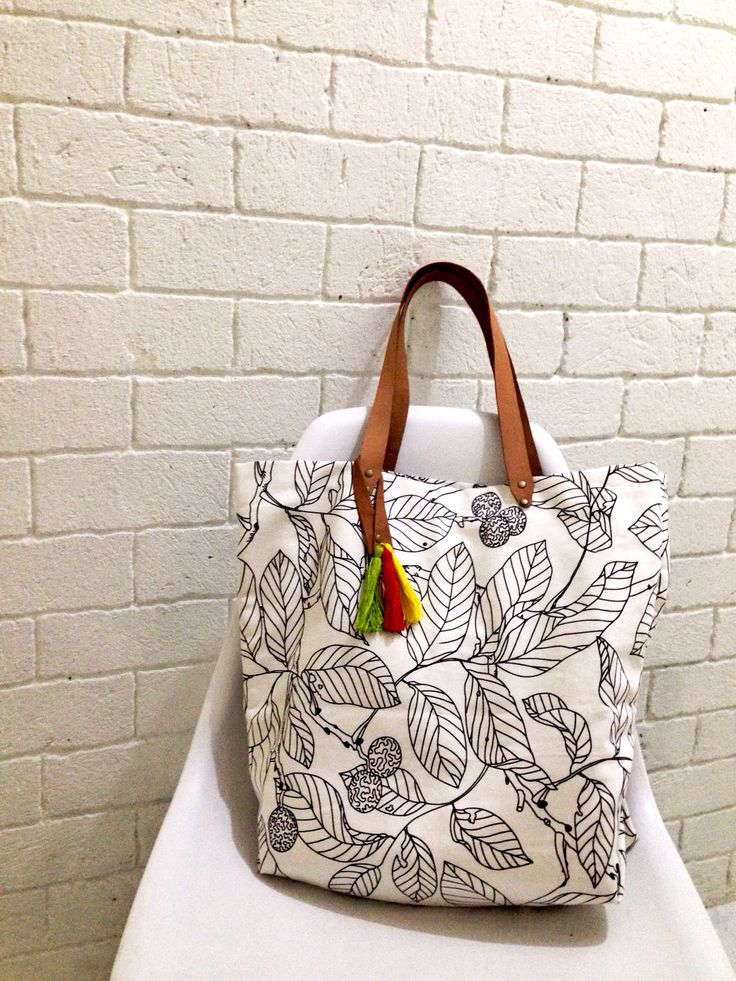 Canvas tote Bag with tassel and leather strap