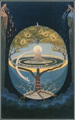 In Norse mythology, the World Tree called Yggdrasill runs like a pole through this world and the realms above and below it. Yggdrasill is a great ash tree that connects all living things and all phases of existence.