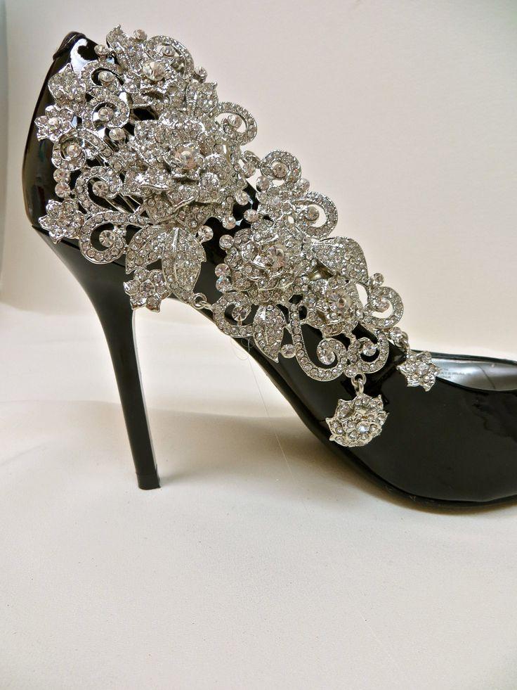 Bridal Shoe Clips-Crystal Rhinestone . $85.00, via Etsy.
