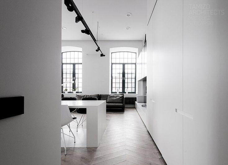 black + white, windows + track lighting   loft interior design, łódź.