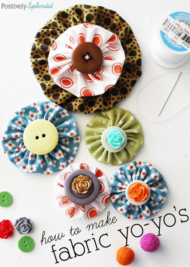 Fabric yo-yo's are a great way to use fabric scraps, and they can be used to add a pop of color to just about any project! Free templates with tutorial at Positively Splendid.