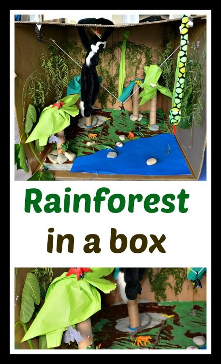 Fun rain forest pretend play - all in a big box for long hours of story telling and play. For older kids this could be a elaborate learning opportunity.#pretendplayactivities