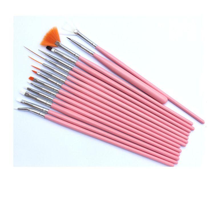 15pcs Nail Art Brushes Set White Decorations Gel Painting Pen Nail Brush Professional Nail Equipment Drawing Tool