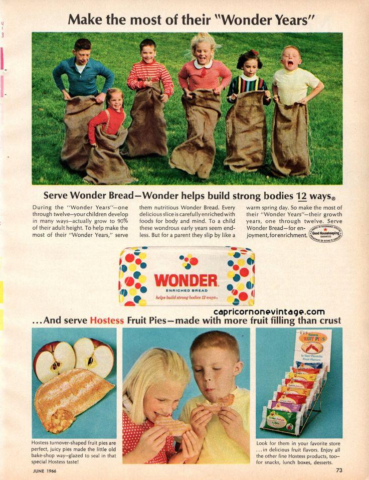 Vintage 1966 Wonder Bread Hostess Fruit Pies Magazine Ad Kitsch Advertising Retro Kitchen Decor Wonder Years Collect Frame or use for Crafts by CapricornOneEphemera on Etsy