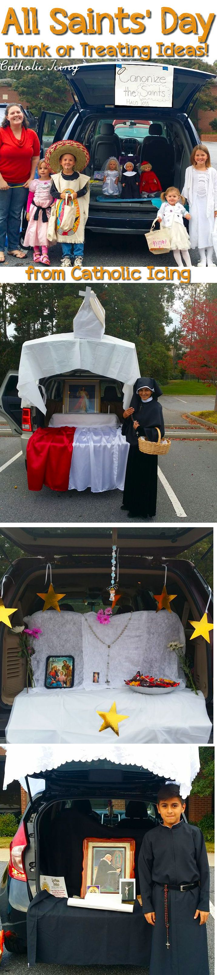 All Saints' Day trunk or treating- lots of ideas for decorations, costumes, games, and more! Are you ready for your All Saints' Day party?  :-)