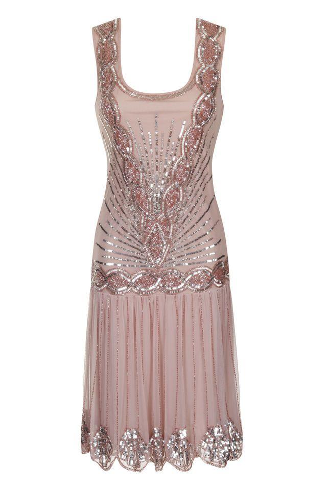 BLUSH PINK SEQUIN CHARLESTON FLAPPER uk 8 10 12 14 16 GATSBY dress 20's DECO