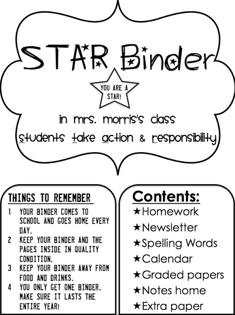 """LOVE this Sheet! """"Students Take Action and Responsibility: STAR Binder"""" Simply 2nd Resources: Update on STAR binders"""