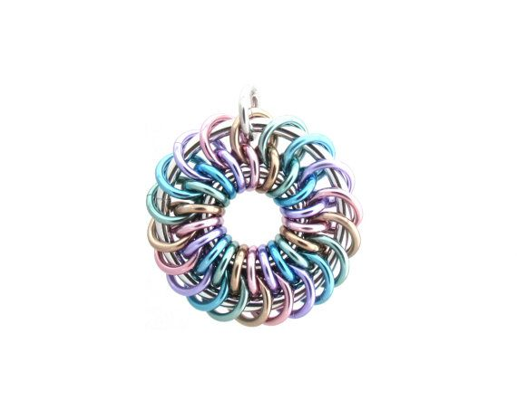 Chain Maille Pendant, Jump Ring Jewelry, Pastel Pendant, Rainbow Jewelry…