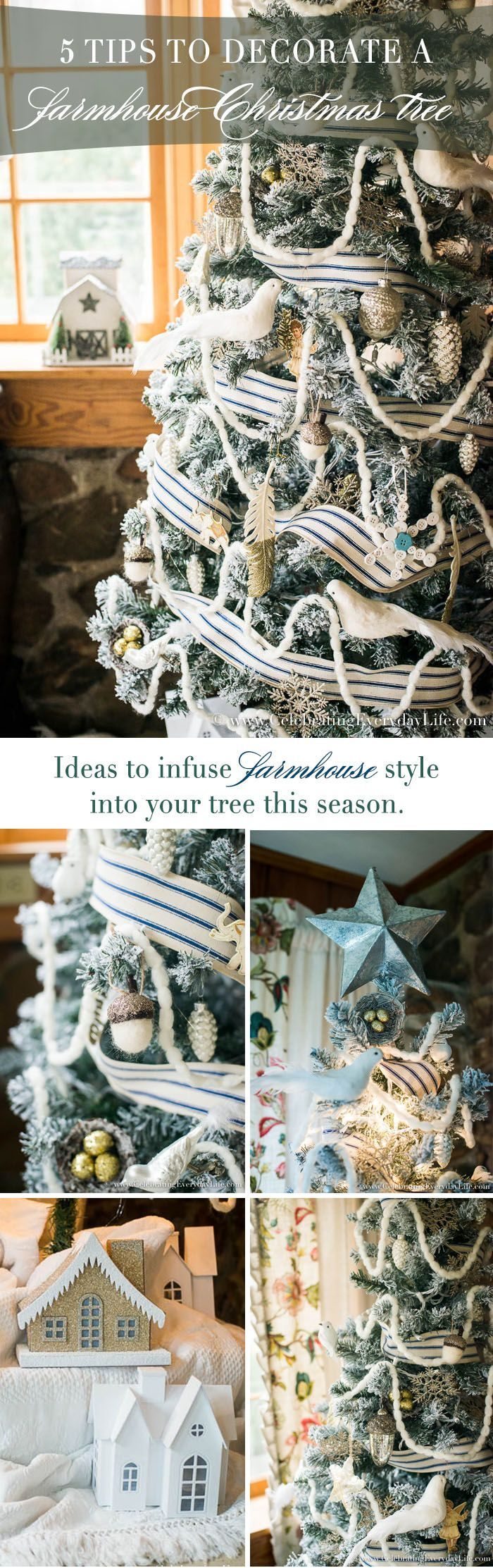 5 Tips to Decorate a Farmhouse Christmas Tree | Celebrating Everyday Life with Jennifer Carroll | http://www.CelebratingEverydayLife.com