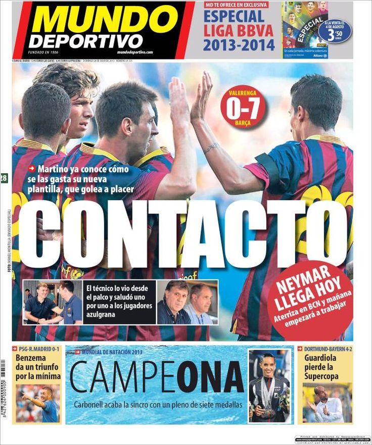 Los Titulares y Portadas de Noticias Destacadas Españolas del 28 de Julio de 2013 del Diario Mundo Deportivo ¿Que le pareció esta Portada de este Diario Español?