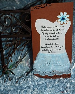Designed by Knots 'N Such Events - lingerie and bridal shower food table, rustic style, blue and brown, lipstick and lace theme, custom bridal / lingerie shower invitations.