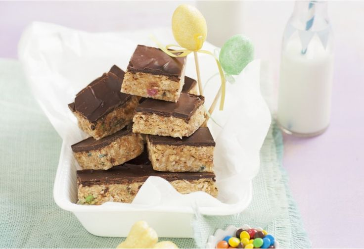 Cook-free slices of heaven! Chocolate, coconut, candies, jellybeans and biscuits - Oh my!